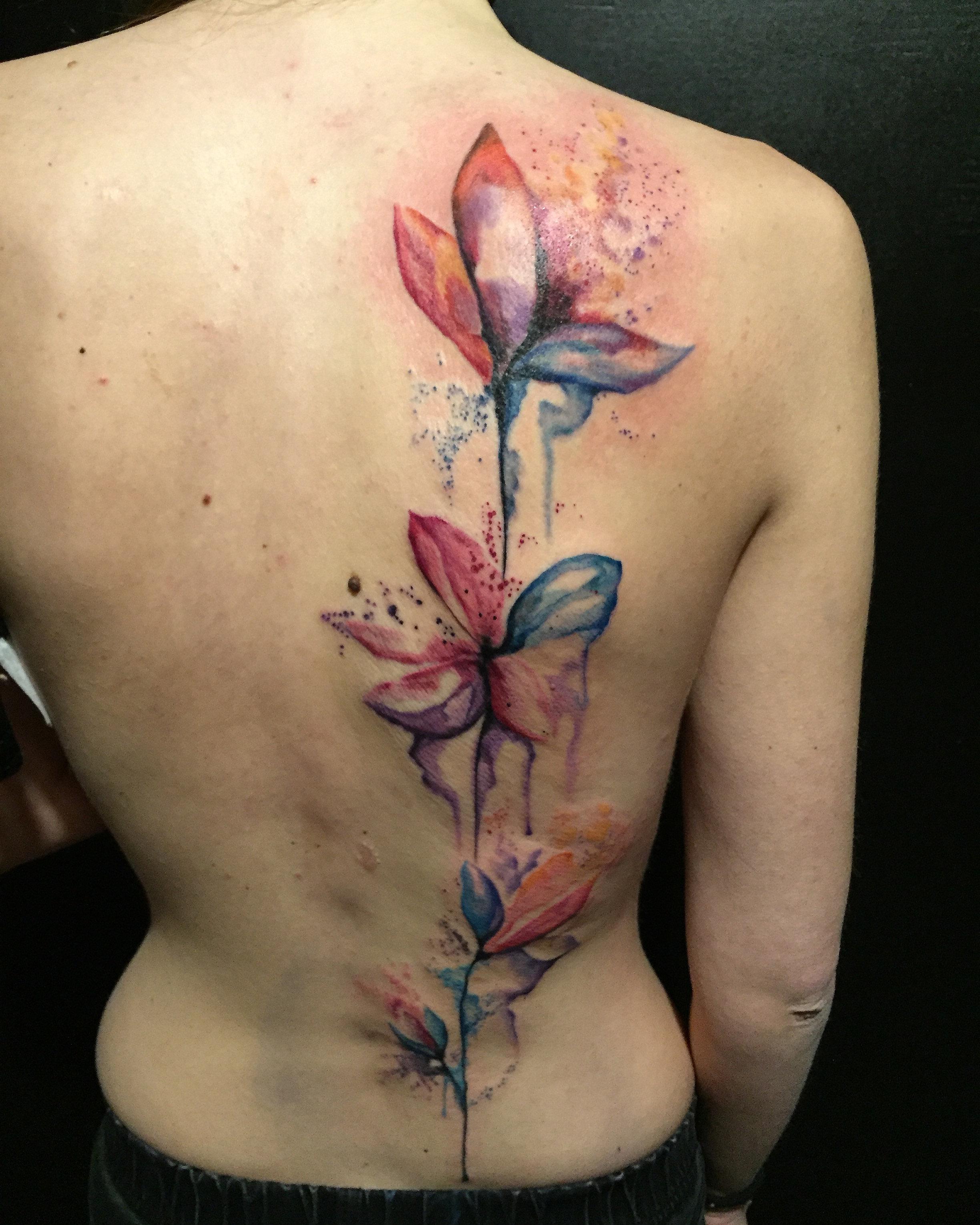 tatouage fleurs aquarelle watercolor