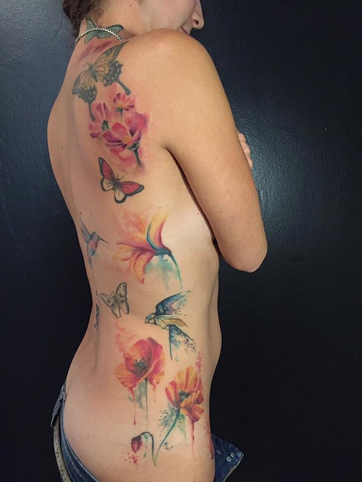 tatouage fleur aquarelle watercolor flower tattoo studio art tattoo bordeaux