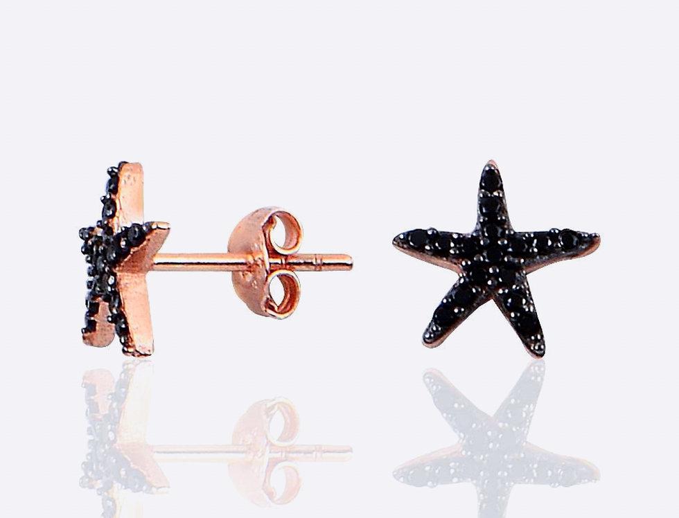 Black Starfish Earrings