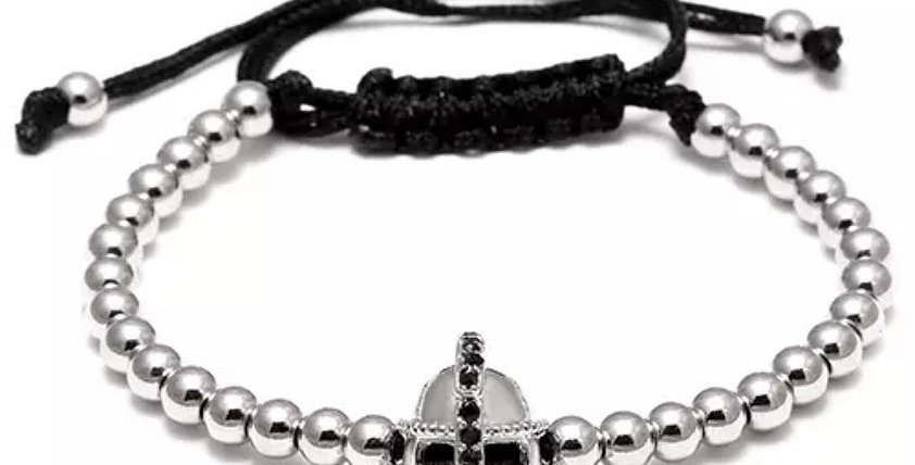 Silver Helmet Zirkon Bracelet