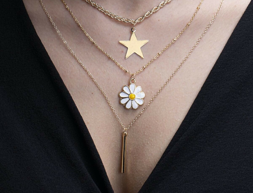 3 Layer Daisy Star Necklace