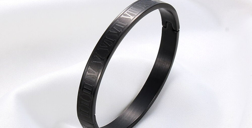Roman Numerals Steel Bracelet I Black