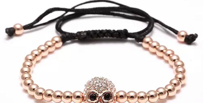 Gold Rose Zirkon Skull Bracelet