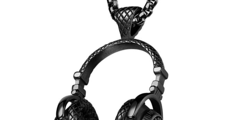Black DJ Headphone Necklace