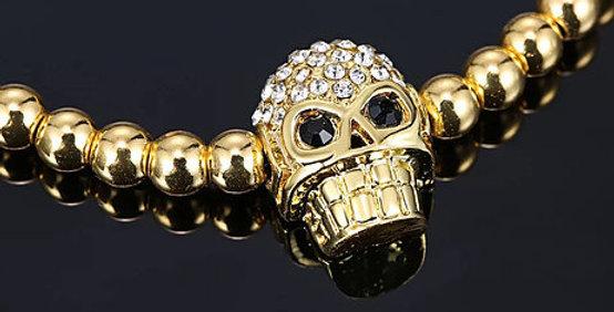 Gold Zirkon Skull Bracelet