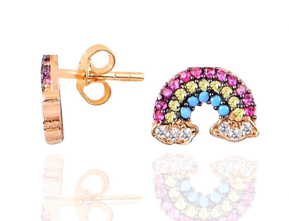 Rose Gold Rainbow Earrings