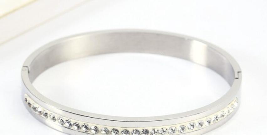 Diamond Titanium Steel Bracelet I Silver