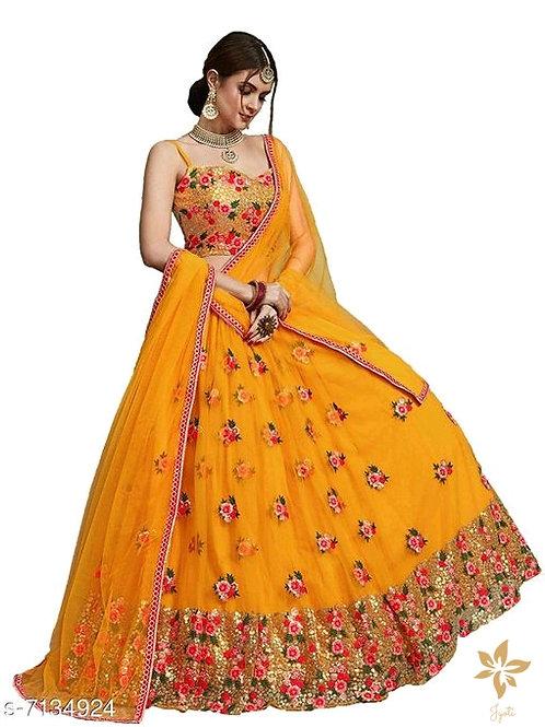 Women's Heavy Net Sequins Lehenga Choli (Yellow)