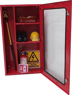 Gabinete para guardar equipo de seguridad utilizado en subestaciones eléctricas libre de polvo.