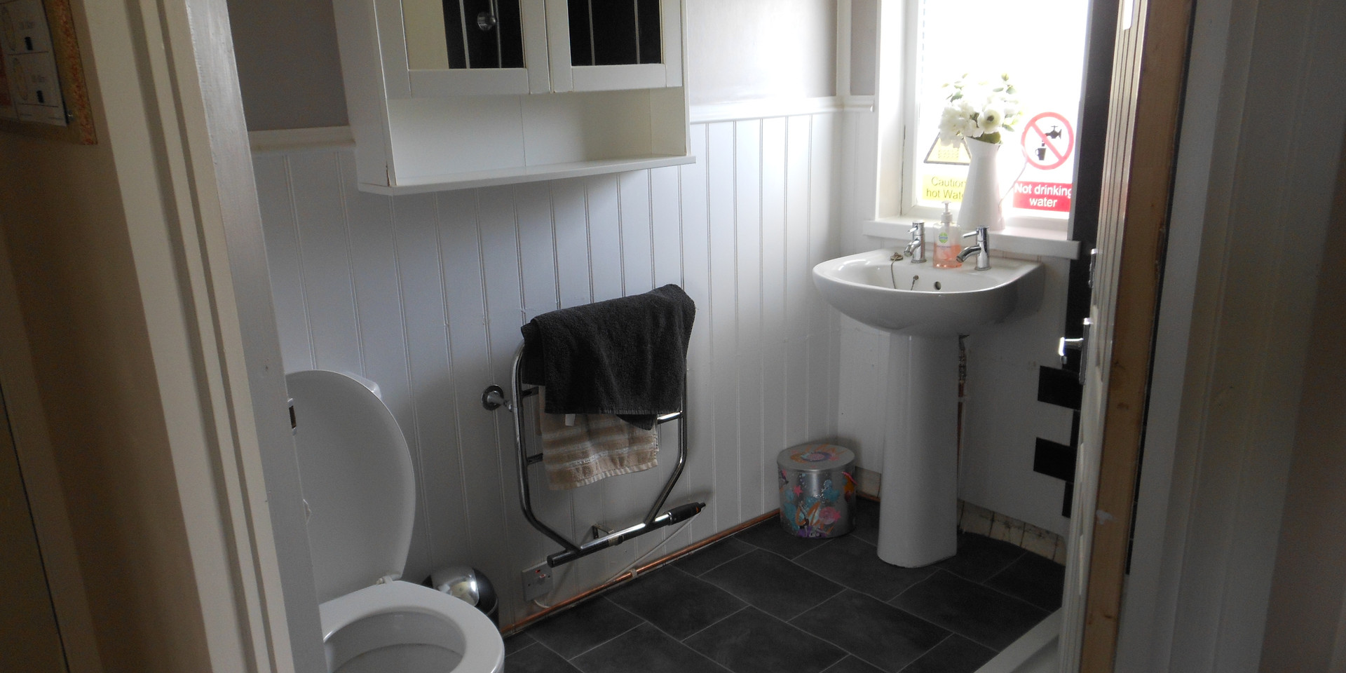 A finished accessible toilet and shower