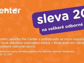 Prodloužená sleva zákazníkům Pet Center