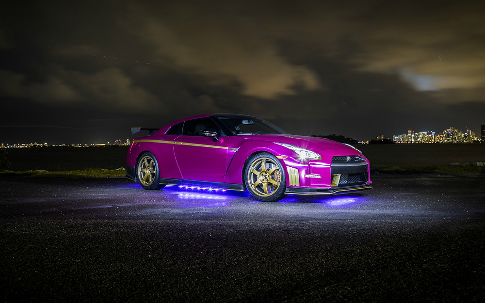 nissan GT-R Nismo car wrap chrome vinyl Miami