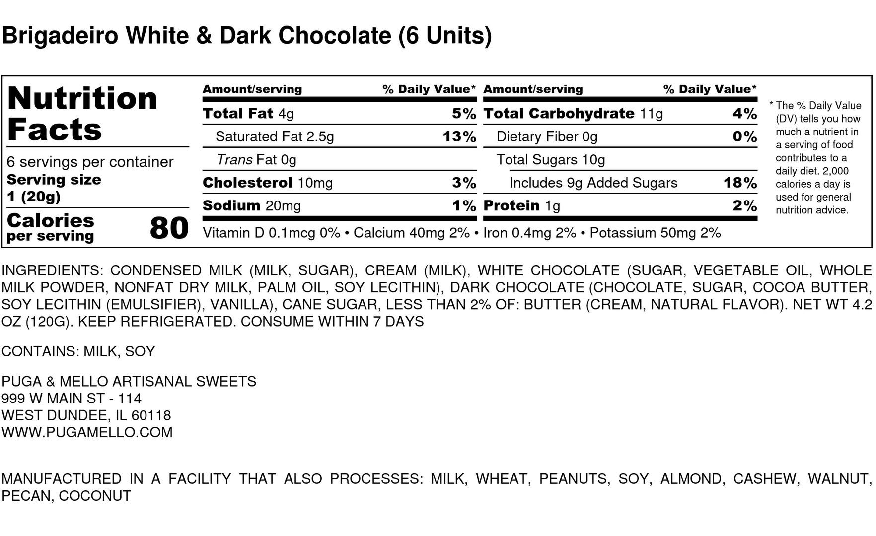 Brigadeiro White _ Dark Chocolate (6 Uni