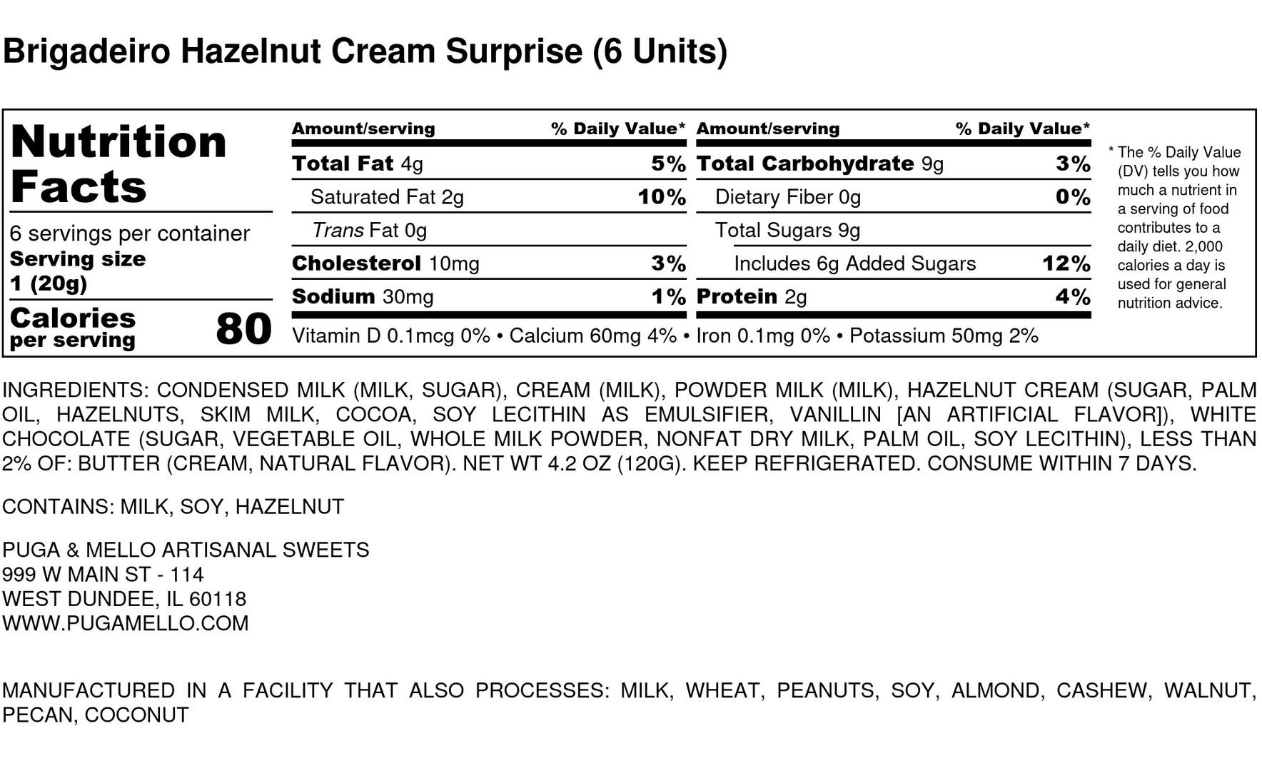 Brigadeiro Hazelnut Cream Surprise (6 Un
