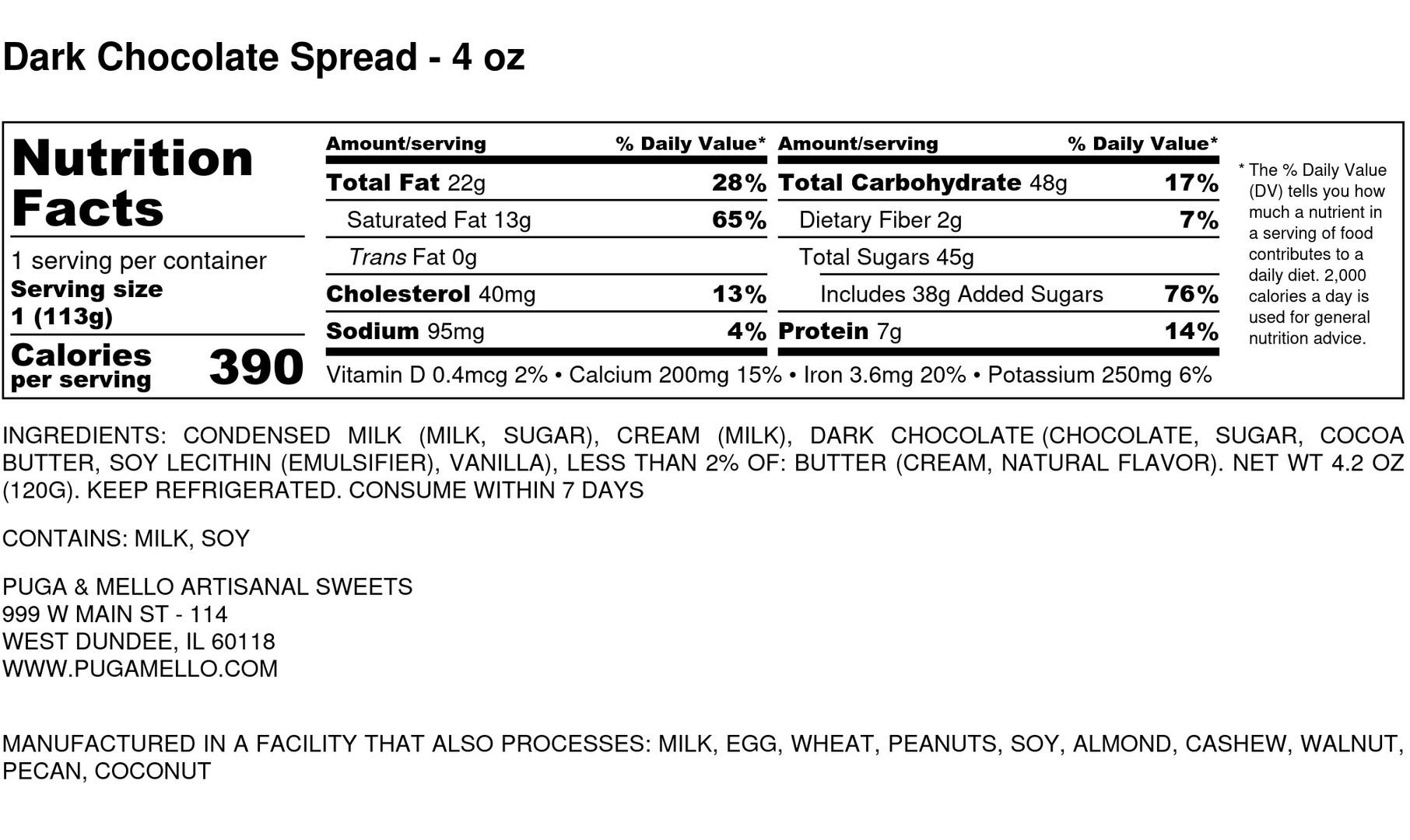Dark Chocolate Spread - 4 oz - Nutrition
