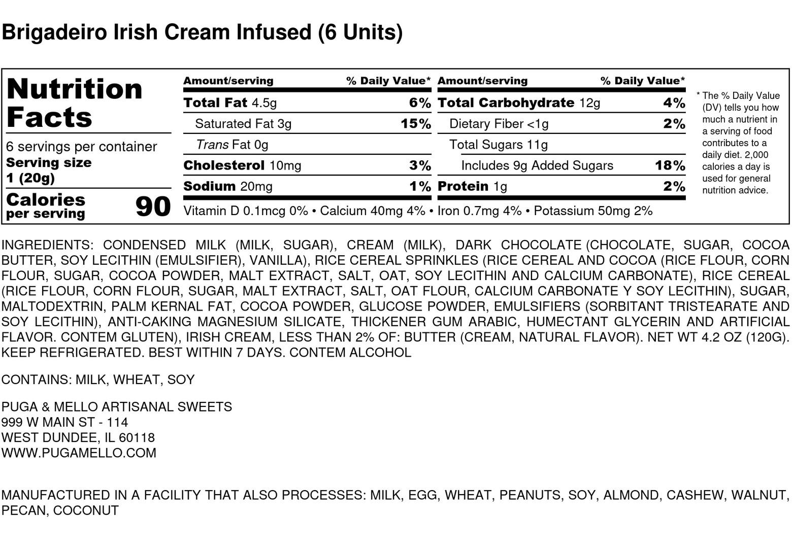 Brigadeiro Irish Cream Infused (6 Units)