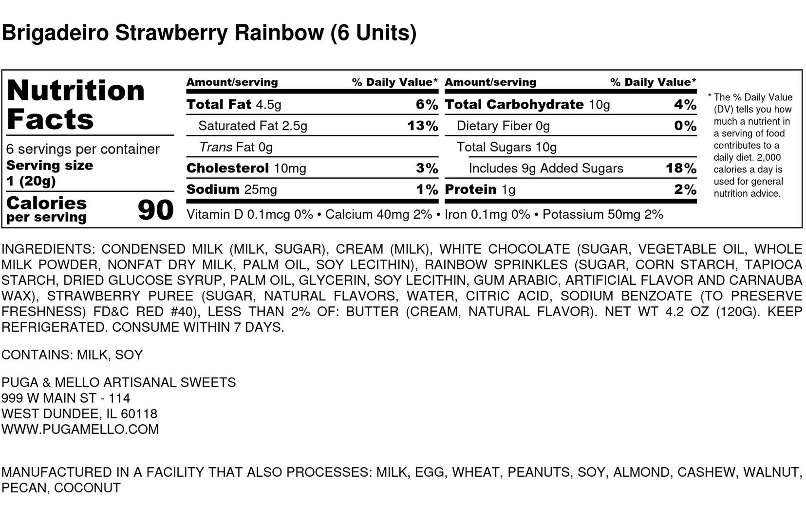 Brigadeiro Strawberry Rainbow (6 Units)