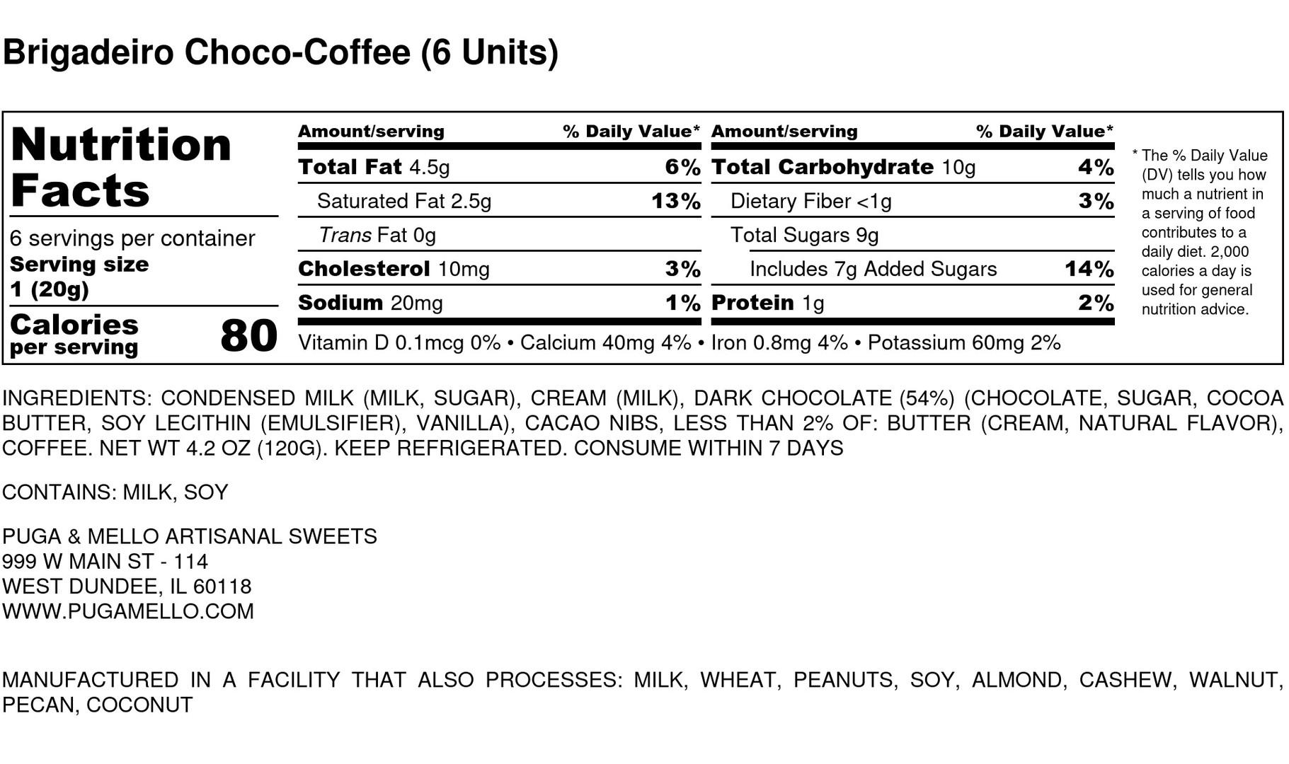 Brigadeiro Choco-Coffee (6 Units) - Nutr