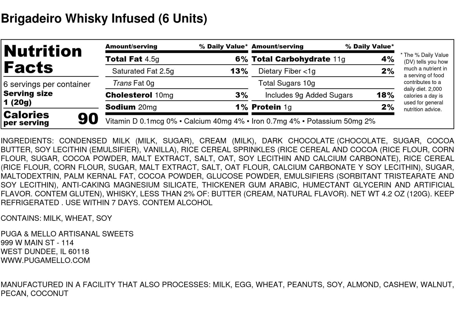 Brigadeiro Whisky  Infused (6 Units) - N