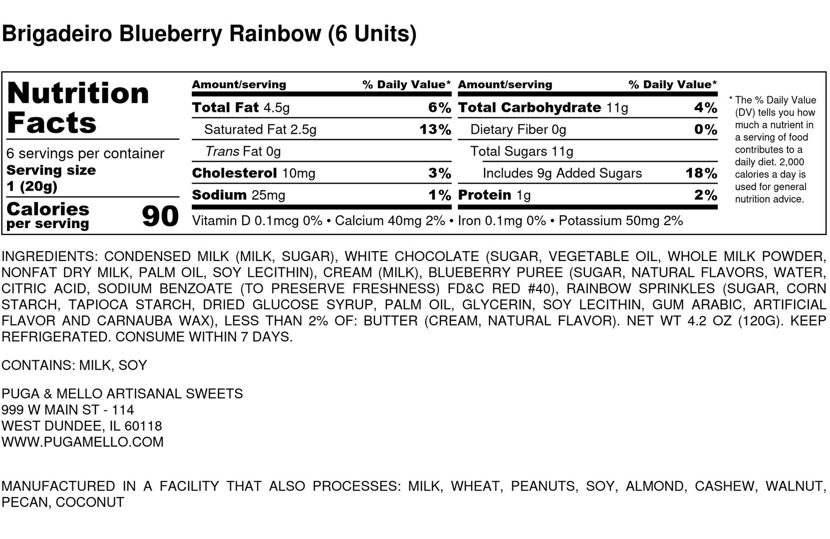 Brigadeiro Blueberry Rainbow (6 Units) -
