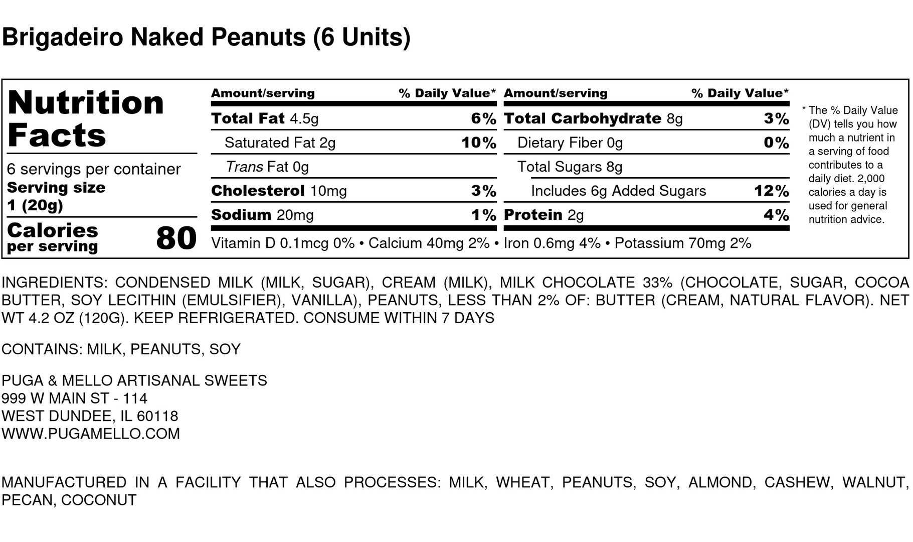 Brigadeiro Naked Peanuts (6 Units) - Nut