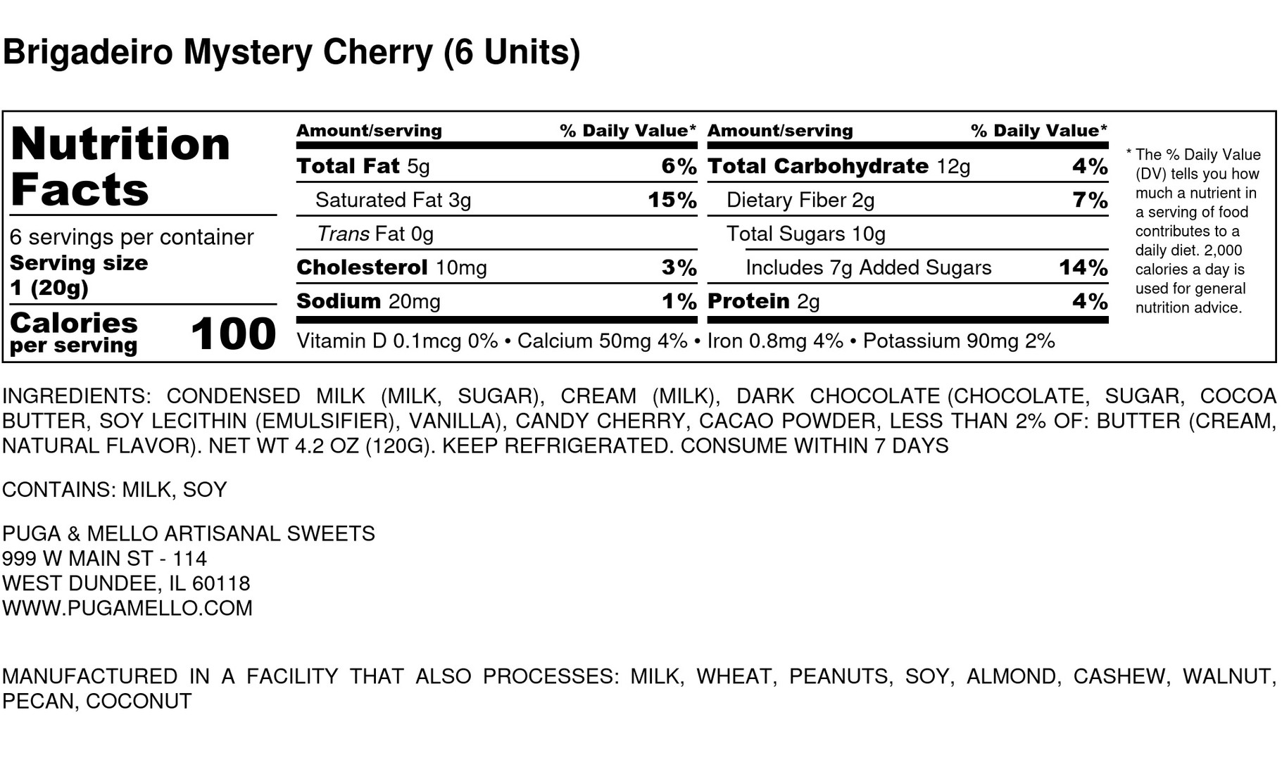 Brigadeiro Mystery Cherry  (6 Units)  -
