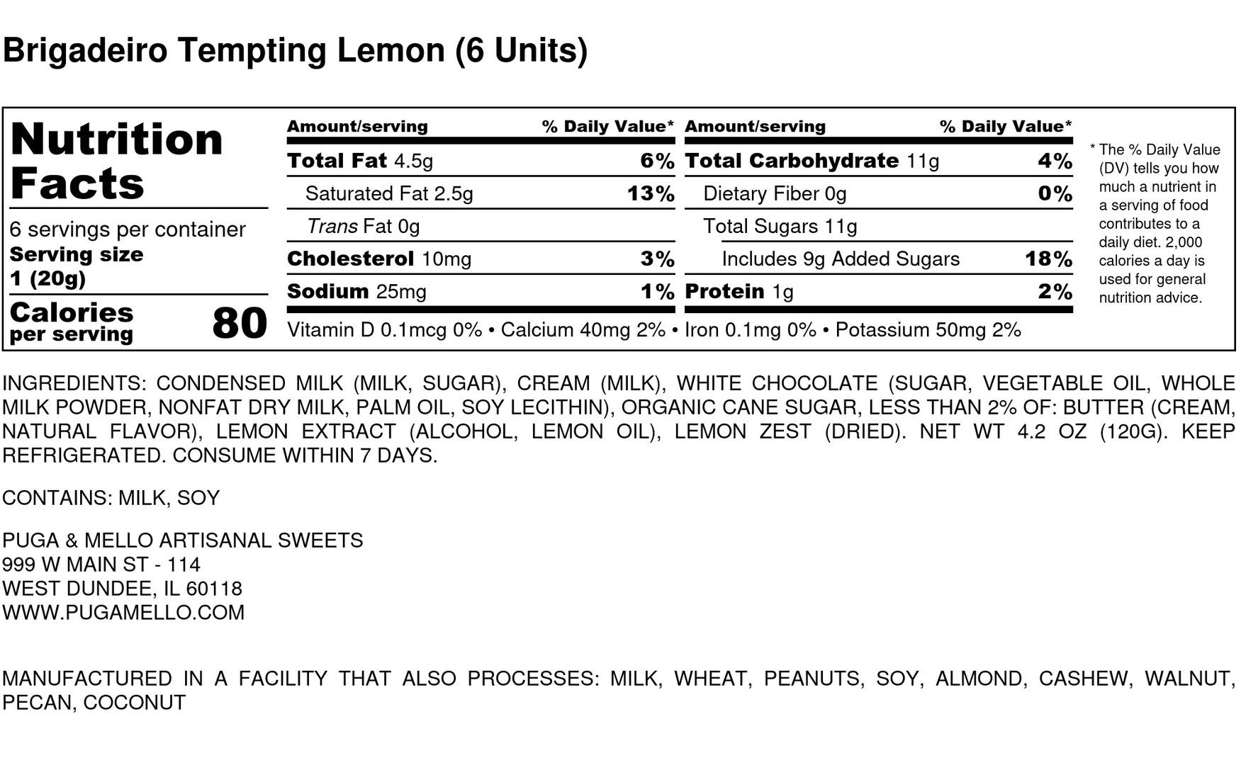 Brigadeiro Tempting Lemon (6 Units) - Nu