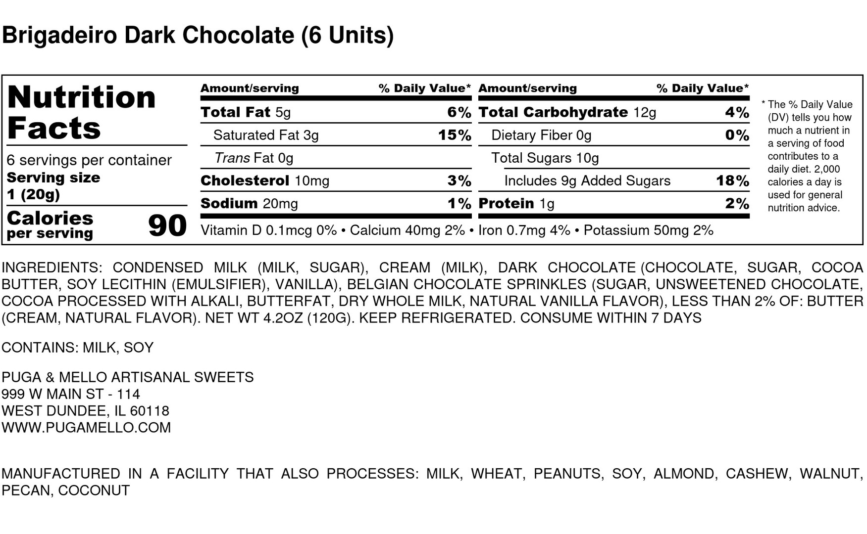 Brigadeiro Dark Chocolate (6 Units) - Nu