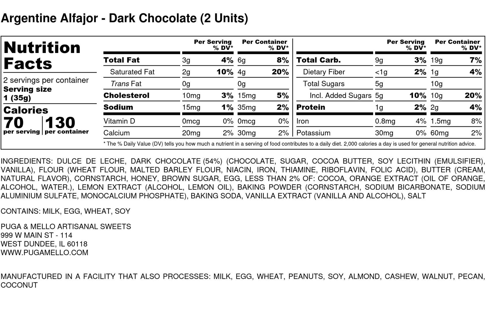Argentine Alfajor  - Dark Chocolate (2 U