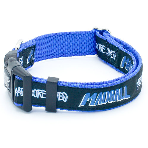 "Madball 1"" Width Black and Blue Dog Collar"