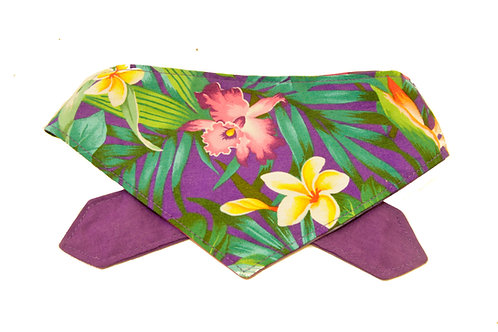 Purple Hawaiian Flowers Double Sided Bandana
