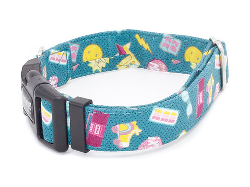 Totally Rad Teal Dog Collar