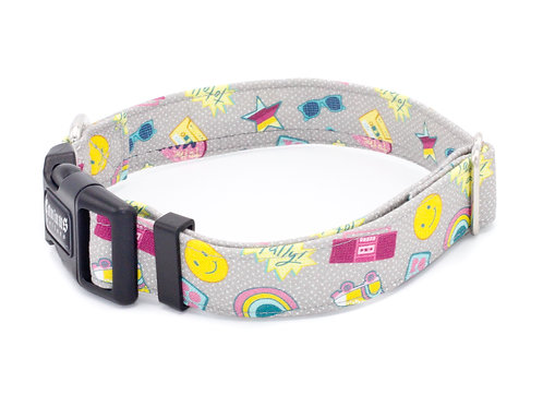 Totally Rad Grey Dog Collar