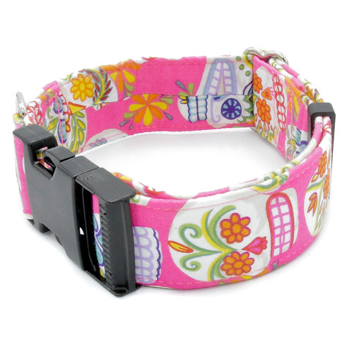Day of the Dead Pink Sugar Skull Collar