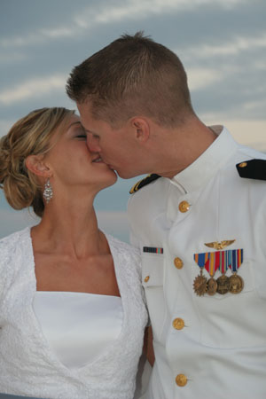 Romantic dream beach wedding kiss