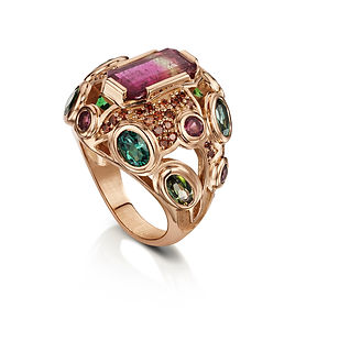 18ct Rose Gold Tourmaline and Cognac Diamond CocktailRing