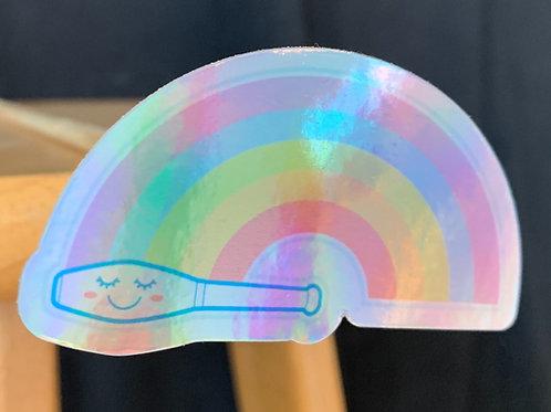 Holographic Happy Rainbow Club Sticker