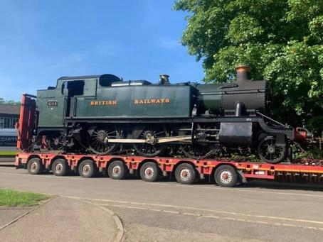 GWR steam locomotive 4144 arrives at the Nene Valley Railway