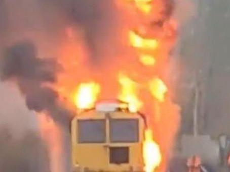 Engineering Train Goes Up in Smoke!