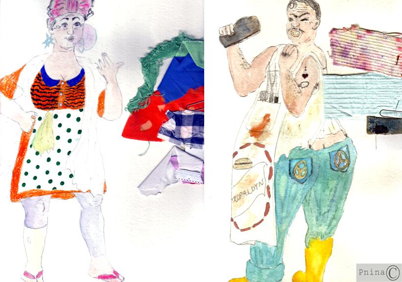סקיצות לתלבושות- טרופלדינו וסמרלדינה