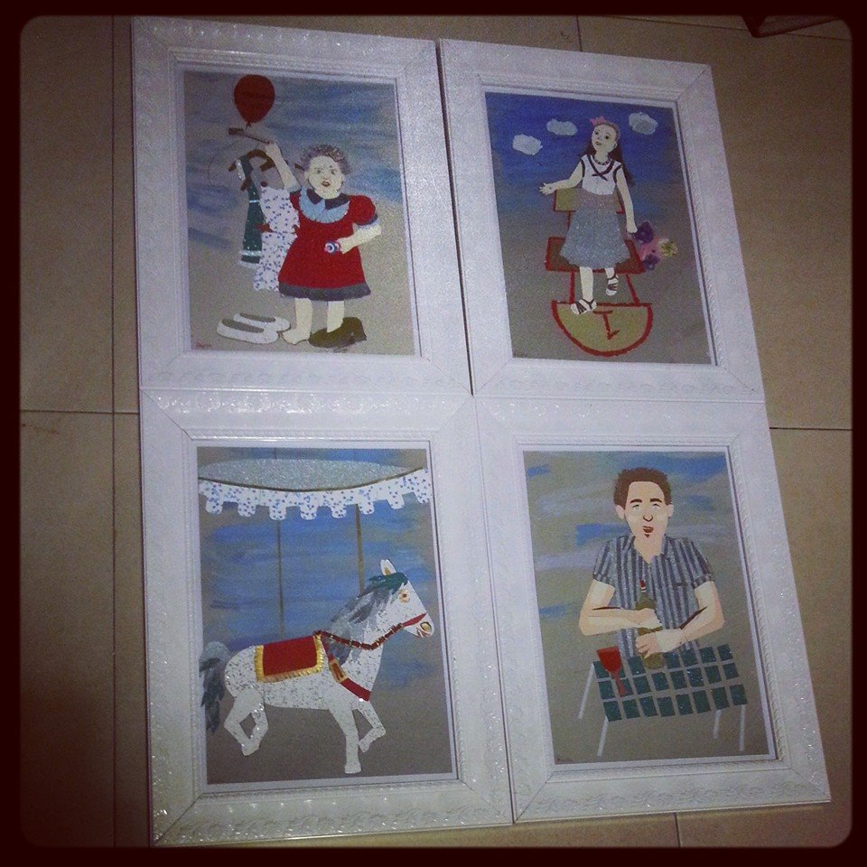 A series of 4 Cardboards papercuts