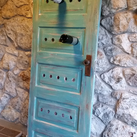 Old Door Upcycled to Wine Rack