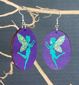 Faries on Oval Turquoise with purple bkg