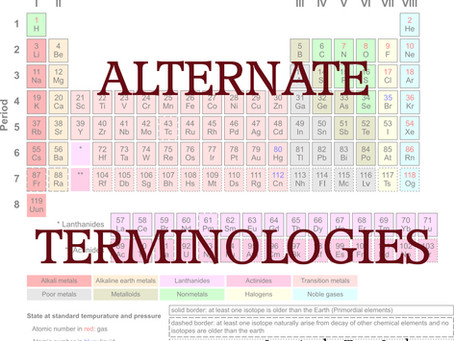 Alternate Terminologies: Elementary, my Dear Mendeleyev