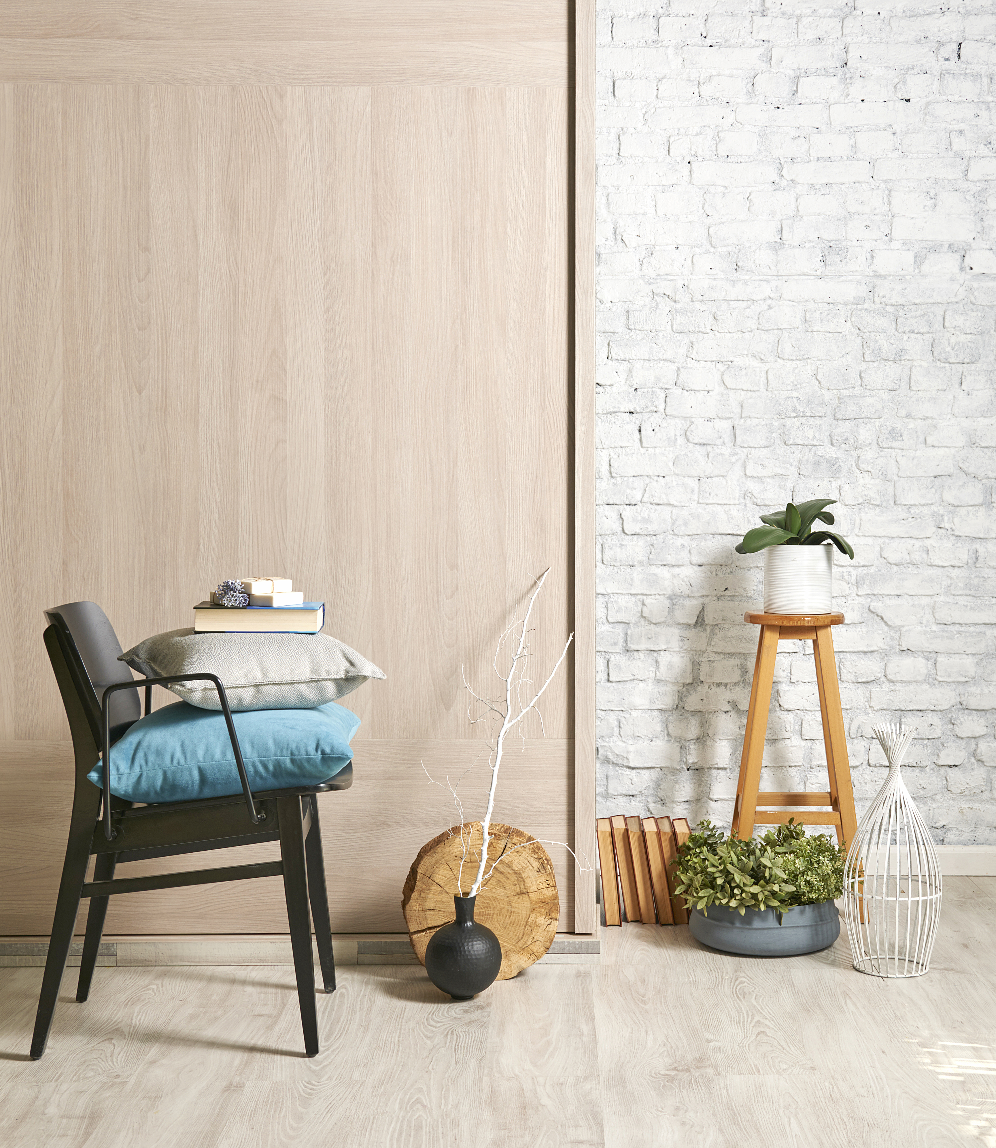 wooden wall interior with black chair an