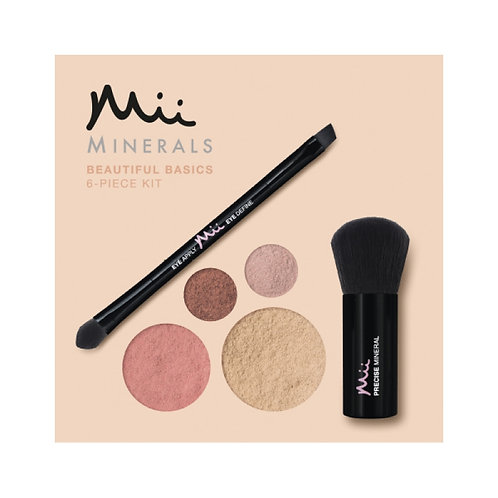 Mii Mineral Beautiful Basics Foundation, Eyeshadow, Blush & Brush Set - Sand 05