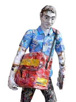 Michelle Reader - Junkmail postman sculpture