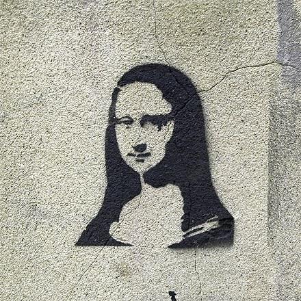 Mona Lisa graffiti stencil