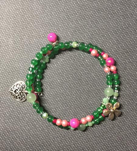 Trachtenarmband in pink und grün