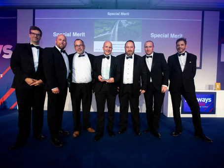A E Yates with double awards at the Highways Awards 2021